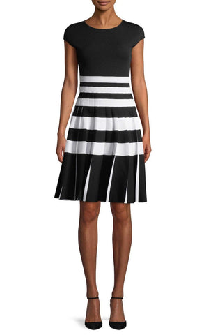 CAROLINA HERRERA Pleated Black Striped Knit Dress M