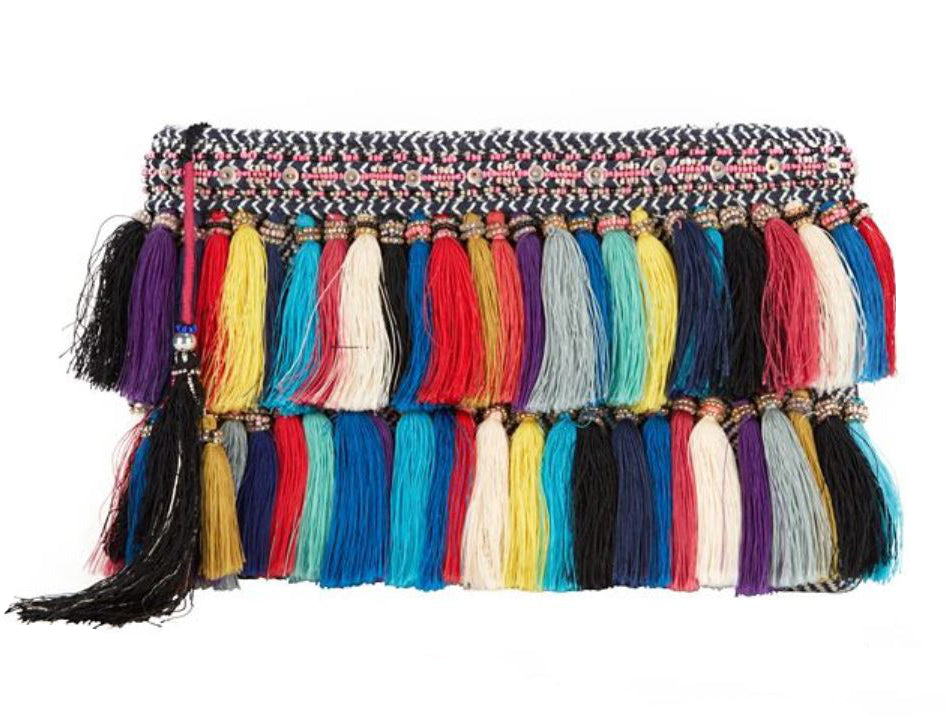 CHRISTOPHE SAUVAT Rainbow Cotton Tassel Fringe Clutch Bag