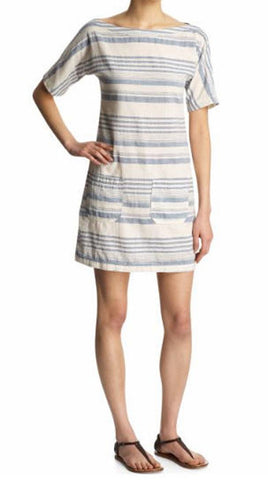 CIVIL SMITH Striped Linen Blend Dress, Medium