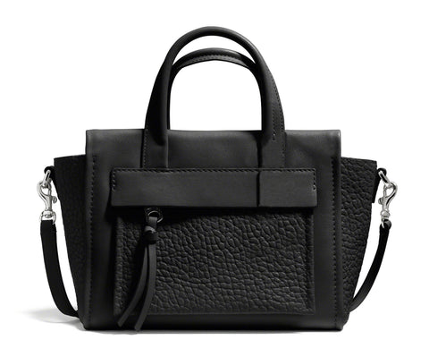 COACH Bleecker Black Leather Mini Pocket Carryall Tote Shoulder Bag