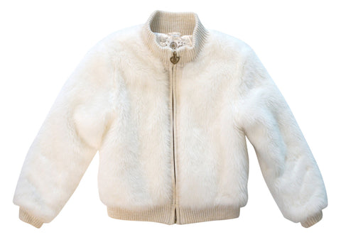 THE CHILDREN'S PLACE Girls Ivory Faux Fur Jacket Coat L 10 12 NEW