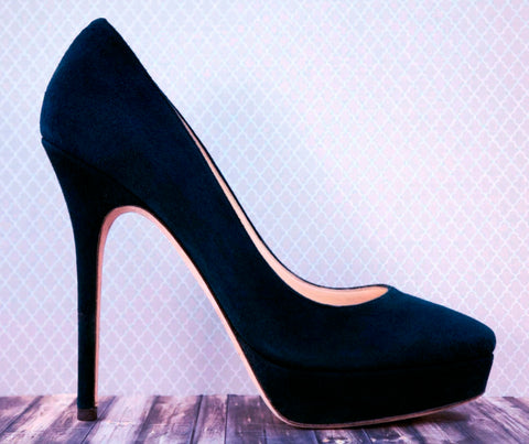 JIMMY CHOO 38.5 Cosmic Navy Suede Platform Pumps Heels 8