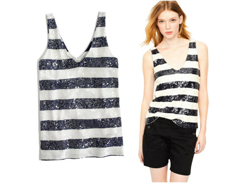 J. CREW Navy and White Striped Sequin Tank Top L NEW WITH TAGS