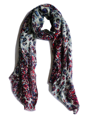 CRIMSON PARIS XL Multi Red Blue Dégradé Printed Scarf Shawl Wrap BRAND NEW