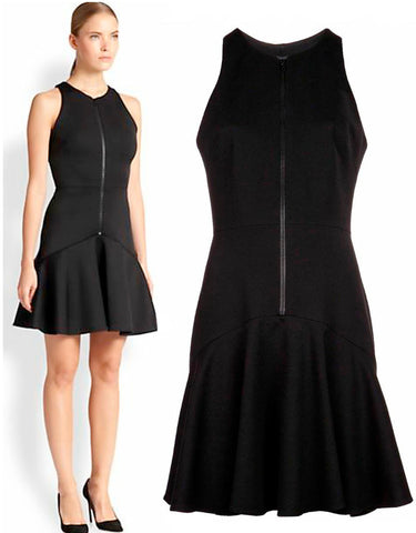 CUSHNIE ET OCHS Zip Front Fit 'n Flare Dress, Sz 10