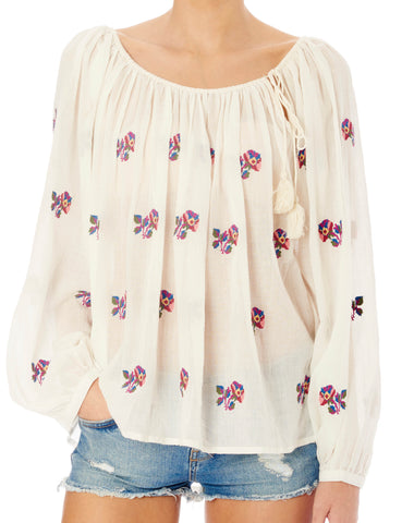 STAR MELA Dana Ecru Multi-Color Embroidered Cotton Viole Blouse Top