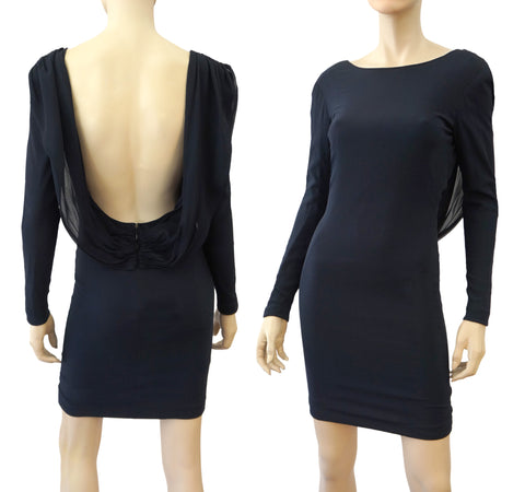 FRED HAYMAN Navy Blue Vintage Silk Open Back Mini Dress 4