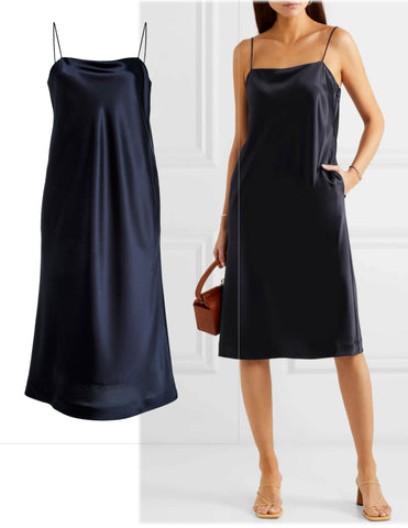 DEVEAUX Coco Navy Blue Satin Slip Midi Dress 2 BRAND NEW