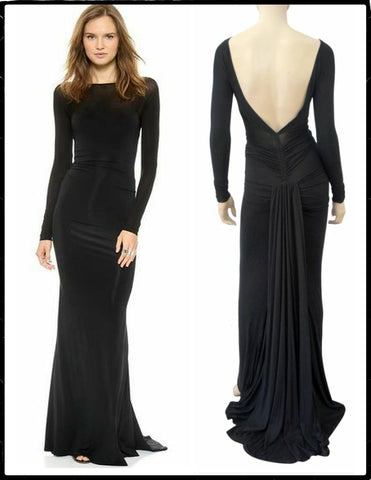 DONNA KARAN NEW YORK Black Stretch Jersey Backless Evening Gown Dress S