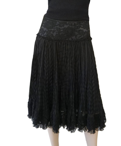 DOLCE & GABBANA Lace Trim Pleated Black Chiffon Crochet Hem Midi Skirt 40 US 4