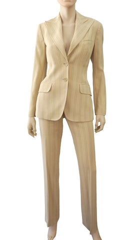 DOLCE & GABBANA Beige Pinstripe Cotton Blend Blazer Jacket Pants Suit 40 US 4