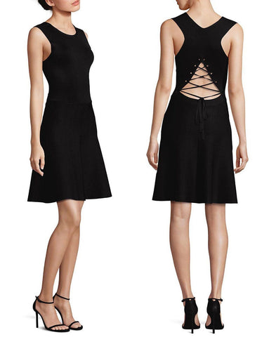 A.L.C. ALC Este Black Neoprene Fit and Flare Lace Back Sleeveless Dress S NWT