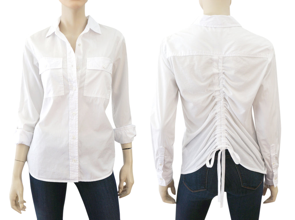ALSO x SUNDRY Jersey Trimmed White Cotton Poplin Shirt NEW WITH TAGS