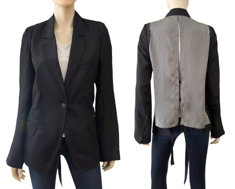 ANN DEMEULEMEESTER Striped Split Back Black Silk Blend Jacket Blazer 36 US 4 NEW