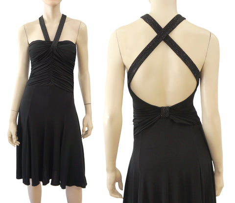 ARMANI COLLEZIONI Black Jersey Embellished Halter Strap Cocktail Dress 6