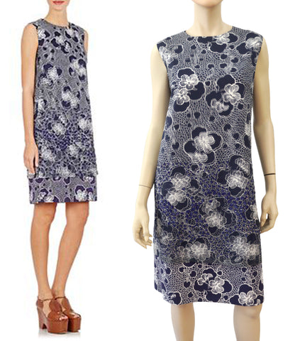 DRIES VAN NOTEN Blue White Floral Embellished Silk Overlay Shift Dress 40 US 8