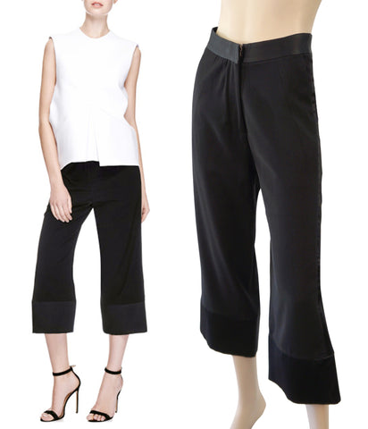 ELLERY Black Crepe Wide-Leg Cropped 'Comrade' Tuxedo Dress Pants 36/4