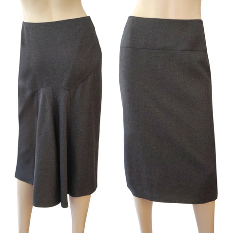 JOHN GALLIANO Gray Wool Cashmere Midi Skirt FR40 US 8 NEW