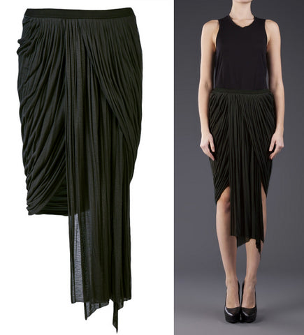 RICK OWENS Pleated Jersey Skirt, IT 40 / US 4