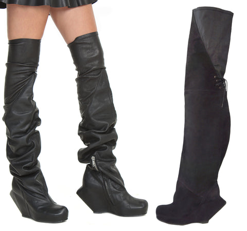 RICK OWENS Thigh-High Wedge Leather Boots, 39/8.5