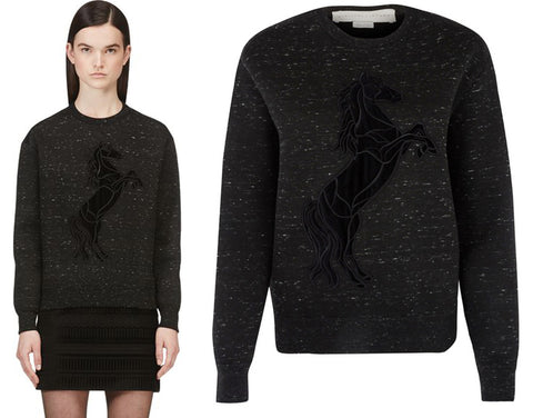 STELLA MCCARTNEY Velvet Horse Print Sweatshirt, IT 36 / US 0-2