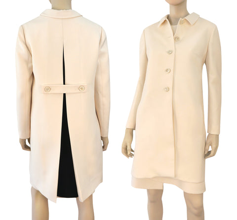 VALENTINO Ivory Wool Crepe Pleated Belted Back Coat 8
