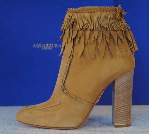 AQUAZZURA 39 Tiger Lily Cappuccino Suede Fringe Tassel Bootie Ankle Boots 8.5