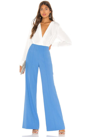 ALICE + OLIVIA Dylan Cornflower Blue High-Rise Wide Leg Pants 4