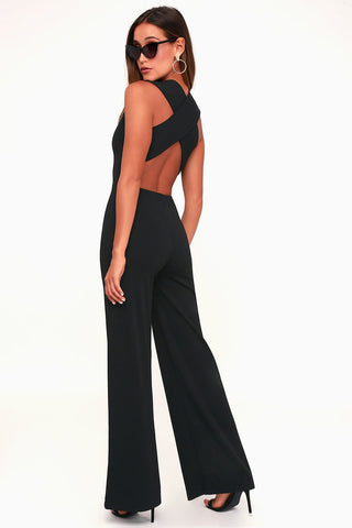 LULUS Thinking Out Loud Black Backless Jumpsuit XS NEW WITH TAGS