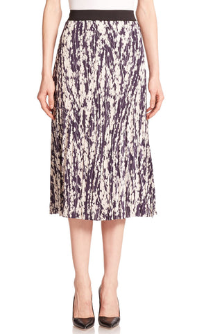 ELIZABETH and JAMES Braylon Navy Ivory Crinkle Pleat Crepe Skirt S
