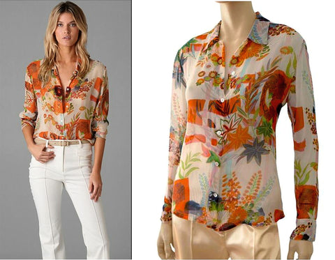 EQUIPMENT Hawaiian Print Silk Shirt, XSmall