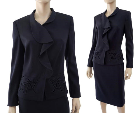 ESCADA Navy Blue Wool Crepe Ruffled Eyelet Peplum Blazer Jacket 40 US 8