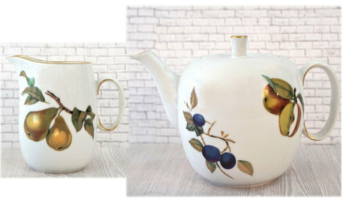 "ROYAL WORCESTER Evesham 5"" Tea Pot and Creamer Gold w Fruit Rare Vintage NEW"