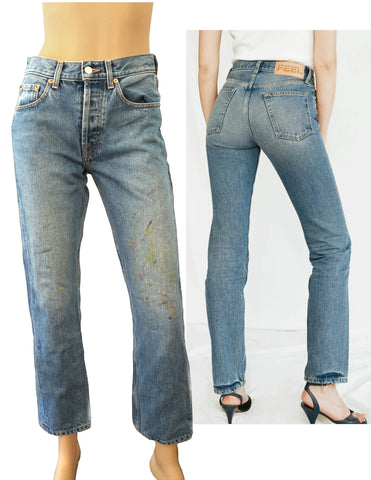 THE FEEL STUDIO Genuine Jean Paint Splattered Blue Ozone Wash 27