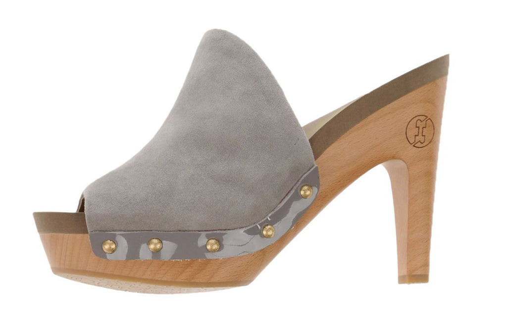 FLOGG Gray Suede Socialite Wood Heel Mules Clogs 6.5 NEW