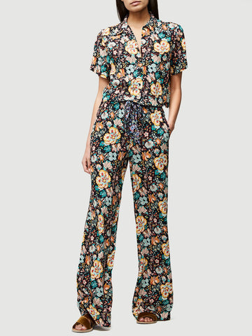 FRAME Multi-Color Floral Print Wide Leg Crepe Easy Pants S New With Tags