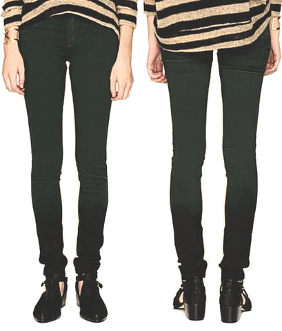 RAG & BONE Biscay Mid Rise The Legging Jeans in Forest Green Ombre 26