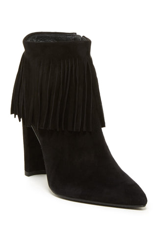 STUART WEITZMAN 10M Fringe Time Black Suede Ankle Bootie Boots NEW