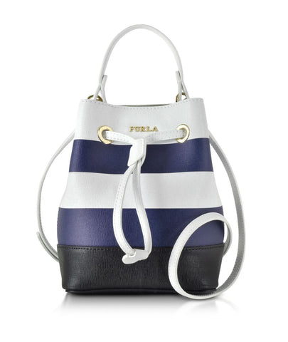 FURLA Chalk White Navy Blue Striped Leather Stacy Bucket Bag with Pouch NEW