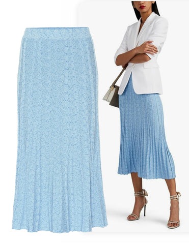 Altuzarra Gabbiano Hyacinth Blue Rib-Knit Fit & Flare Skirt S  BRAND NEW