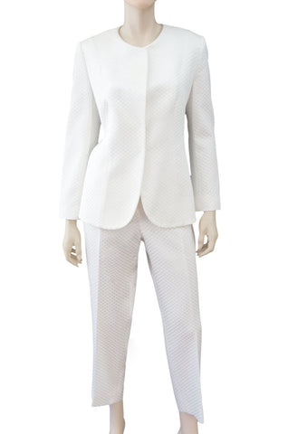 GIORGIO ARMANI White Matelasse Jacket Pants Suit US 12
