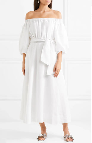 GABRIELA HEARST Riley Off the Shoulder White Linen Midi Dress 40 US 4 BRAND NEW