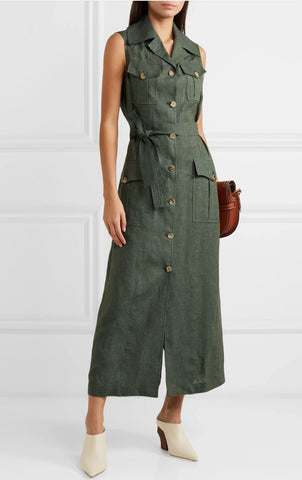GIULIVA HERITAGE Mary Angel Belted Army Green Linen Midi Dress 40 US 4 BRAND NEW