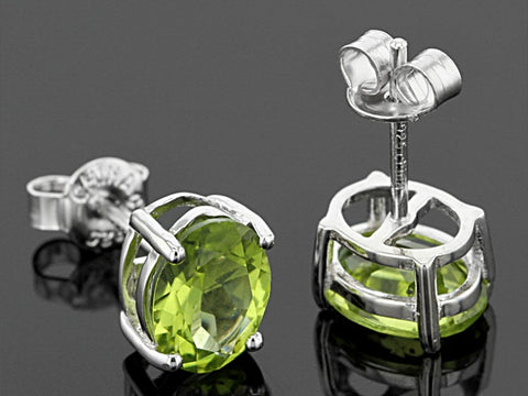 GREEN PERIDOT 4.55tcw Sterling Ring and 4ct Peridot Sterling Studs JTV NEW