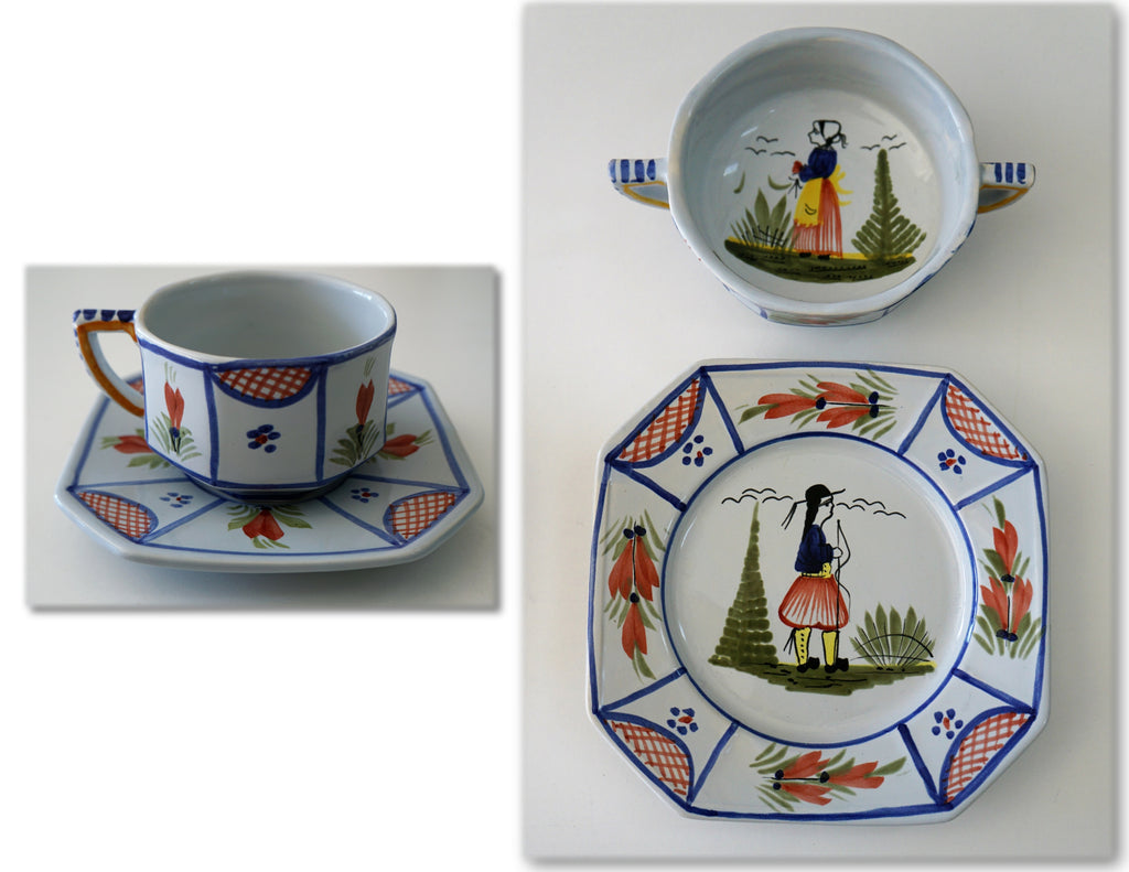HENRIOT QUIMPER Faience Breton Woman Man Cup, Saucer, Soup Bowl, Plate MINT