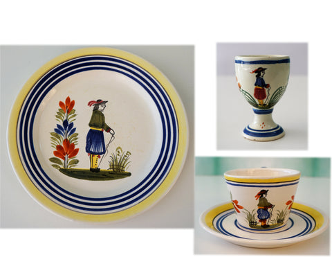 HENRIOT QUIMPER France Vintage Breton Man Cup and Saucer, Egg Cup, Plate 4 Pc