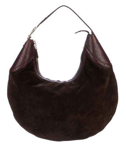 GUCCI Glam Chocolate Brown Suede Horsebit Hobo Shoulder Bag