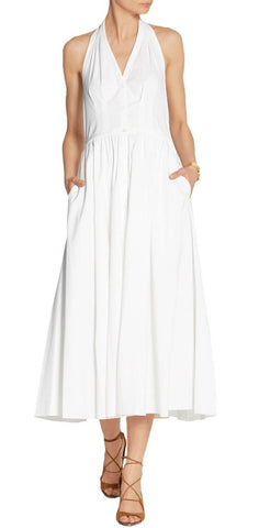 MICHAEL KORS COLLECTION White Stretch Cotton Poplin Halter Dress 2 NEW