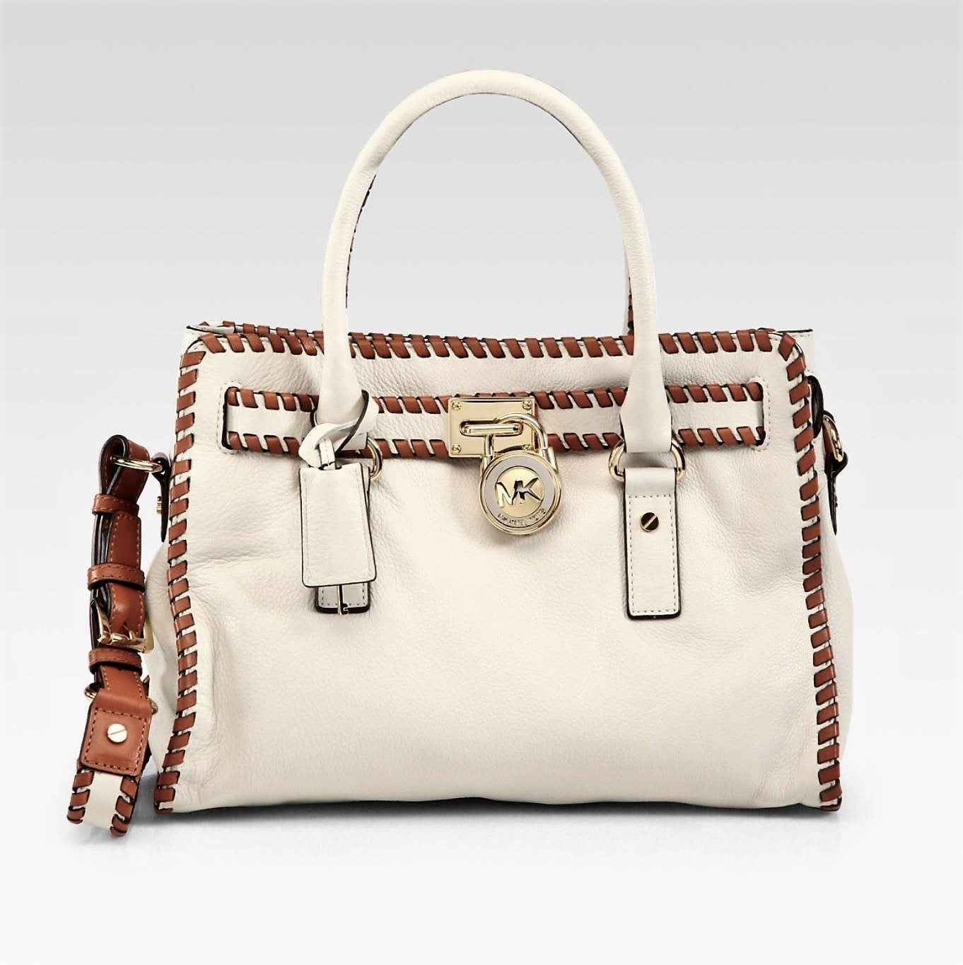 086c29cd929998 MICHAEL MICHAEL KORS Hamilton Natural Leather Whipstitched Satchel Tot –  LaLaStyle