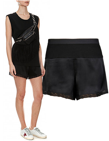 T ALEXANDER WANG Black Silk Satin Jersey Combo Shorts XS NEW WITH TAGS